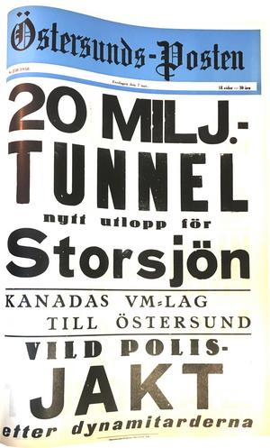 ÖP:s löpsedel 7 november 1958.
