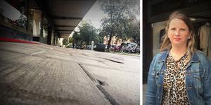 Ursula Werlanders butik ligger vid en gata som har sjunkit ner på grund av årtionden av trafik och slitage.