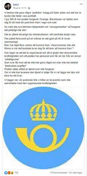 Ett urklipp från Sators Facebooksida.