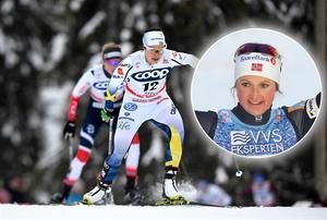 Anna Haag (stora bilden) blev bästa svenska i Lenzerheide. Norskan Ingvild Flugstad Östberg (infälld) vann före Heidi Weng. Bilder: TT Nyhetsbyrån.