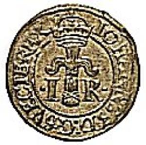 """Silvermynt i valören ett öre präglad vid myntverket i Stockholm 1522. Ettöringen vägde drygt fyra gram och kunde växlas till tre örtugar. Varje örtug kunde sedan växlas till åtta penningar. Allt tillverkat i Salasilver. Lönen räckte och blev över till att ofta bli rejält """"beskänkt"""" på någon av de många krogar som fanns i Gruvbyn."""