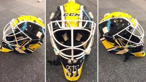 Jesper Myrenbergs nya mask. Foto: Jimmie Jansson/VIK