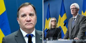 Stefan Löfven, socialministern Lena Hallengren och Folkhälsomyndighetens generaldirektör Johan Carlsson.