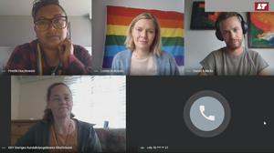Preethi Huczkowski, Lovisa Arvidsson (LT), Tor Norrman, Michael Westlund, Elenor Öster och Tor Norrman i samtal om livet som hbtqi-person i Jämtland och Härjedalen.