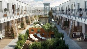 APP Properties ska bygga det planerade seniorboendet vid slutet av Villagatan. Illustrationen är hämtad från det material som företaget lämnade in till markanvisningstävlingen. Illustration: Zynka