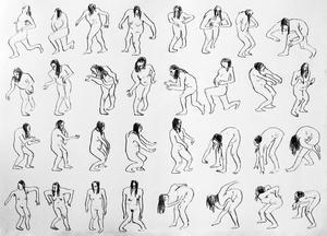 En svit teckningar av Emelie Markgren.
