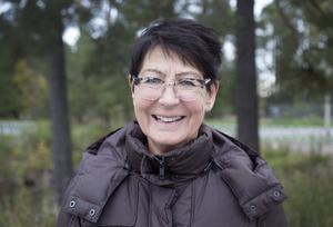 Kerstin Björkman, Gävle, rastade barnbarnets hund när hon upptäckte att Gavlerinken-skylten monterades ned.
