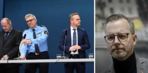 Från vänster; Dan Eliasson, generaldirektör för Myndigheten för samhällsskydd och beredskap (MSB),  Anders Thornberg, rikspolischef, inrikesminister Mikael Damberg (S)