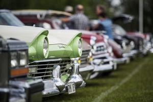 Det är en stor blandning av klassiska bilar som radar upp sig på området.