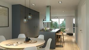 Interiörbild över hur ett kök i något av radhusen kan se ut. Foto: Panghus AB