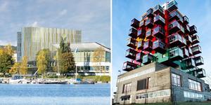 Stöd inte ett hotell som är en tråkig pastisch på miljonprogrammets arkitektur, skriver insändarskribenten som också menar att Ting1 i Örnsköldsvik är den fulaste byggnaden i Ångermanland. Foto: TM Konsult och Robbin Norgren. Bilden är ett montage.