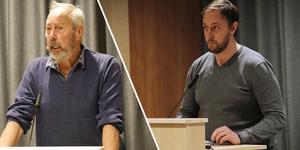 I måndags fick Ramsjöbon Rolf Hjelm, till vänster, förklara hur han tänkte sig den sänkta skatten i glesbygden – MP:s Kristoffer Hansson, till höger, tycker hans idé är något att fundera på.