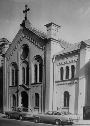 Betelkyrkan på Köpmangatan i centrala Örebro. Byggnaden invigdes 1876. Här,  i Örebro första baptistförsamling. var de tre bröderna Erik, Oscar och Ernst Åqvist trogna och engagerade medlemmar. Foto: NA/arkiv