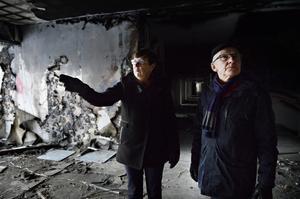 Karin Westin Nilsson och Staffan Östman visar oss runt i de vandaliserade lokalerna.