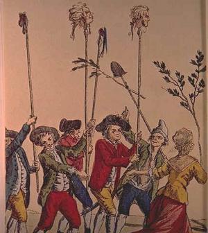Aristokraters avhuggna huvuden på pålar. Okänd konstnär.