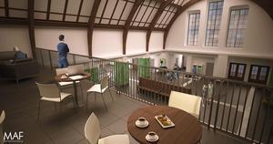 Det finns en ledig yta ovanför en av ingångarna som skulle kunna användas som kafé. Bild: MAF.