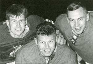 De tre spelarna är från vänster är Evert Tysk, Jan-Erik Johansson och Mats