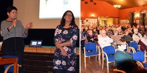 Många bybor hade kommit till Medborgarhuset i Trehörningsjö för att prata om den planerade nedläggningen av hälsocentralen. Det var en hel del irritation i lokalen. Helen Bylund och Anna-Lena Lundberg fick svara på många frågor.