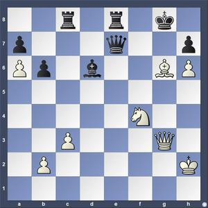Lösning: 1.Lf7++ Kh8/Kxf7 2.Dg7