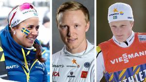Anna Haag, Oskar Svensson och Jens Burman är alla uttagna till OS i Pyeongchang. Bilder: TT Nyhetsbyrån.