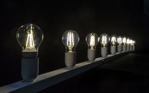 Ledlampor med filament ska vara rundstrålande säger tillverkarna. Men riktigt samma ljusspridning som glödlampan har de inte enligt testledare Håkan Skoogh. Foto: Anna Sigge