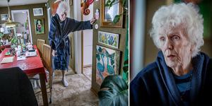 Efter smitningsolyckan går 89-åriga Anna-Greta Lindberg med kryckor, innan man körde ifrån olycksplatsen trasade han sönder hennes höftkula.