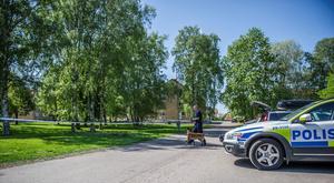 Hundpatrull söker spår i Krylbo i Avesta kommun, där ett misstänkt mordförsök tros ha begåtts. Foto: Niklas Hagman
