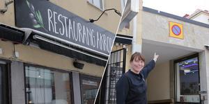 """""""Där uppe ska det bli en takterrass"""" meddelar krögare Eleonor Wallin och pekar upp mot det platta tak som angränsar till restaurangens övre plan."""