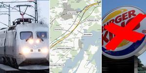 Många stor arbeten väntar innan Ostlänken står klar, bland annat ska en 1,3 kilometer lång tunnel dras nära Järna. En följd blir att Burger king inte kan bli kvar på samma plats som i dag. Foto: TT / Trafikverket