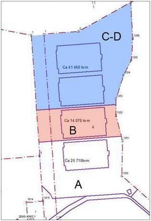 Företaget EcoDC har köpt tomt A på 25710 kvadratmeter och tomt B på 14070 kvadratmeter. Bolaget kan även komma att köpa tomt C och D på totalt 41460 kvadratmeter.