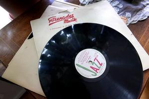 Gustav har en stor samling vinylskivor.Foto: Janerik Henriksson / TT