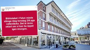 På grund av en vattenläcka håller Falu Stadsbibliotek, i centrala Falun, stängt under torsdagen.