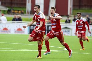 Amor Layouni som målskytt för Degerfors på Domnarvsvallen mot sin forna klubb Dalkurd. Foto: Claes Söderberg