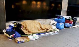 En mindre andel av de 1 000 bostadslösa är så kallade uteliggare. Foto Hasse Holmberg / TT Kod 96