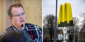 Fredrik Skoglund (S) vid miljö- och byggnämnden i Bollnäs kommun säger nej till en ny skylt för McDonald's.