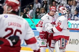 Tobias Liljendahl och Henrik Haukeland – Timrå IK:s matchvinnare mot Leksand på fredagen. Foto: Daniel Eriksson/Bildbyrån.