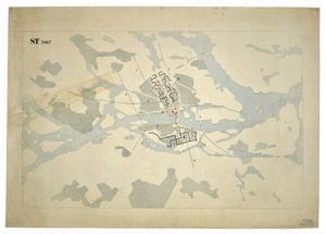 Stadsplan för Stockholm, 1933. Le Corbusiers omdiskuterade förslag realiserades aldrig.