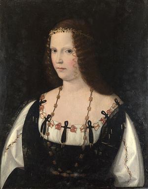Lucrezia Borgia,  målning av Bartolommeo Veneto från 1530.