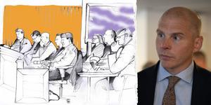 Olle Kullinger är Daniel Kindbergs advokat. Illustration: Ulla Granqvist / Foto: Per Arnsäter