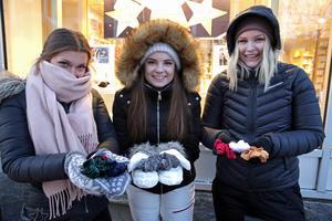 Astrid Gesteby, Alva Nålberg och Emma Persson sålde snoddar som de tillverkat i sitt UF-företag. Affärerna har gått riktigt bra, meddelade de.
