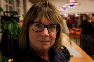 Susanne Lindström, gruppchef för polisen i Avesta, deltog inte aktivt under panelsamtalet men pratade med många oroliga krylbobor efter.