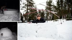 """Efter tio timmar stod den klar – byggde igloo på Rutberget i Ö-vik: """"Var väldigt positiva"""""""