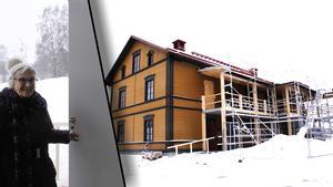 Erna Söderkvist, som bor några hundra meter från nybygget, var en av de första som ville titta på trygghetsboendet i Järvsö.