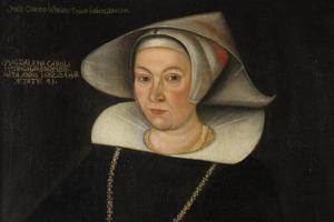 Biskopinnan Malin Carldsdotter Hising 1643 av okänd konstnär. Foto: Per Groth