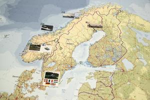 Övningen Trident Juncture 2018. Bland annat passerar förband från fem länder genom Sverige på väg till övningen. Foto: Christine Olsson / TT /
