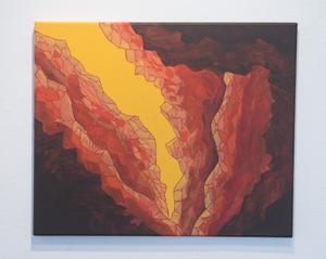 Rent måleri är inte så poppis på Konstskolan just nu. Men Anna Hansson i tredje årskursen är konsekvent, hon visar åtta tavlor.