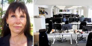 Till vänster, Anette Rangdag (SD) Jämtlands län. Till höger, en bild från ett tomt kontor under coronapandemin. Foto: Vidar Ruud.