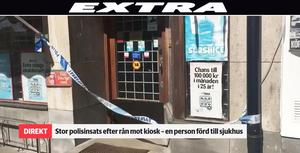 På torsdagsmorgonen fick polisen larm om ett rån mot en kiosk på Kvarngatan i Köping.