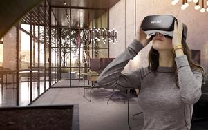 En datorsimulerad bild av skyskrapan på Manhattan, som kommer att vara färdigbyggd om ett par år, och utrustningen som krävs för att ta en digital rundtur i byggnaden redan nu. Örebroföretaget WEC360° ligger långt framme när det gäller 3D-tekniken, och ser stor potential i USA.  ILLUSTRATION: WEC360°