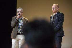 Spendrups HR-direktör Einar Botten och ABB:s landschef Johan Söderström talade båda vid mötet i Lorensberga skola.
